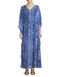 Neiman Marcus Tribal Print V Neck Maxi Dress Blue Periwinkle
