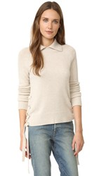 Frame Le Side Tie Cropped Sweater Oatmeal