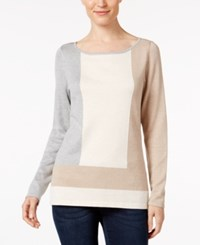 Charter Club Colorblocked Boat Neck Sweater Only At Macy's Vintage Rose Combo