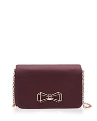 Ted Baker Michala Geo Bow Clutch Deep Purple Rose Gold