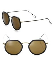 Kyme Omar 44Mm Modified Round Sunglasses Brown