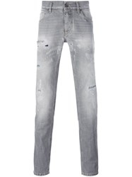 Dolce And Gabbana Distressed Straight Jeans Grey