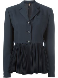 Romeo Gigli Vintage Pleated Hem Jacket Blue
