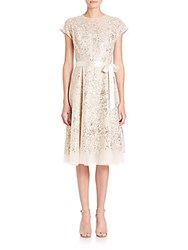 Rickie Freeman For Teri Jon Sequined Lace Ribbon Belted Dress Gold