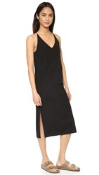 6397 V Neck Slip Dress Black