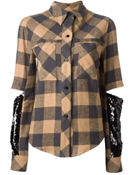 Filles A Papa 'Mister' Check Out Sleeve Shirt Brown