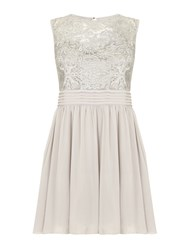 Mela Loves London Silver Lace Prom Dress Grey