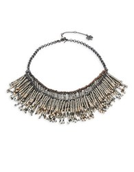 Nanette Lepore Fringed Faux Pearl Bib Necklace Silver