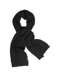 Armani Jeans Cable Knit Wool Blend Long Scarf Black