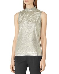 Reiss Tamla Metallic Sleeveless Top