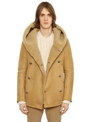 Balmain Hooded Double Breasted Shearling Jacket