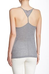 Poof Lace Trim Ribbed Tank Gray