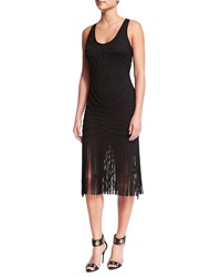 Roberto Cavalli Sleeveless Fringe Hem Tank Dress Black