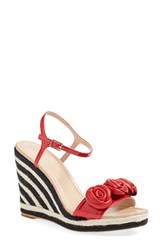 Women's Kate Spade New York 'Jill' Espadrille Wedge Sandal Maraschino Patent