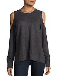 Candc California Heathered Cold Shoulder Top Charcoal