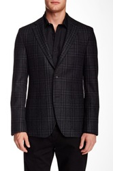 Ike Behar Houndstooth Notch Lapel Two Button Wool Sportcoat Black