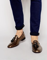 Asos Tassel Loafers In Leather Gold