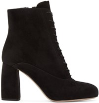 Miu Miu Black Suede Lace Up Boots