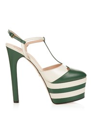 Gucci Angel Leather Striped Platform Sandals Green White