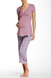 Majamas Lacey Cropped Maternity Nursing Pj Set Purple