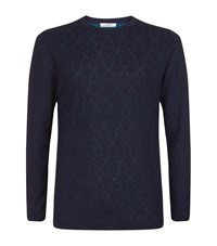 Versace Collection Light Star Embroidered Sweater Male Navy