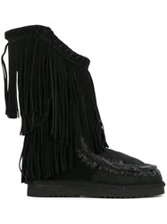 Mou Fringed Tall Boots Black