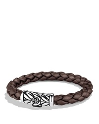 David Yurman Chevron Bracelet In Brown Silver Brown