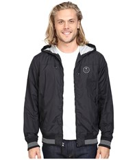 Vissla Daymer Hooded Zipper Front Jersey Lined Jacket 600 Durable Water Coating Black Men's Coat