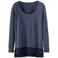 Poetry Striped Jersey Top Dark Blue
