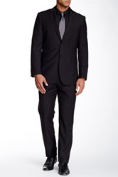 English Laundry Black Sharkskin Two Button Notch Lapel Suit