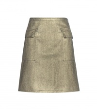 Tomas Maier Metallic Denim Cotton Skirt Gold