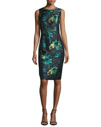 Carmen Marc Valvo Floral Brocade Sheath Dress Black Peacock Size 4