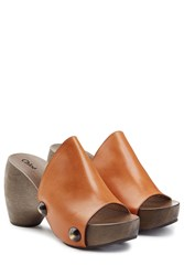 Chloe Leather Slides Brown