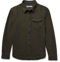 Outerknown Fogbank Double Faced Bruhed Cotton Hirt Army Green