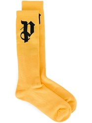 Palm Angels Logo Print Socks Yellow And Orange