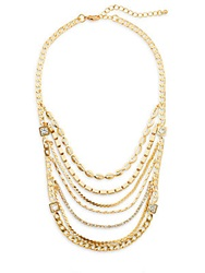 Saks Fifth Avenue Multi Strand Chain Bib Necklace Gold