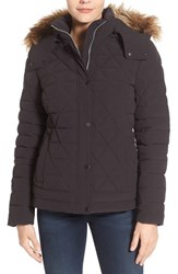Marc New York Women's By Andrew 'Tess' Quilted Down Jacket With Removable Faux Fur Trim Hood Black