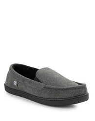 Isotoner Jake Moccasin Memory Foam Slippers Dark Charcoal