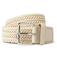Loro Piana Ecru 3.5Cm Leather Trimmed Woven Waxed Cotton Belt White