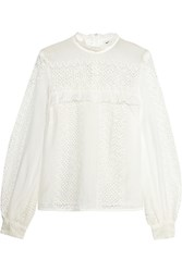 Self Portrait Crocheted Lace And Cotton Blend Blouse White