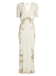 Brock Collection Daryl V Neck Sequin Embellished Velvet Gown Cream Silver