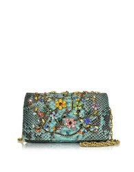 Ghibli Turquoise Python Mini Crossbody Bag W Multicolor Crystals