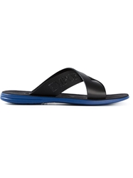 Emporio Armani Crossed Straps Slippers Black