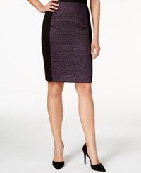 Laundry By Shelli Segal Tweed Boucle Solid Panel Pencil Skirt Purple