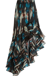 Matthew Williamson Ruffled Printed Silk Organza Maxi Skirt