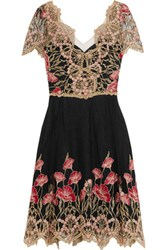 Marchesa Notte Floral Embroidered Tulle Mini Dress Black