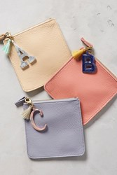 Anthropologie Leather Monogram Pouch White