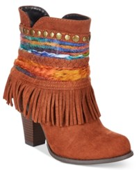 Mojo Moxy Dolce By Bronco Western Fringe Booties Women's Shoes Rust