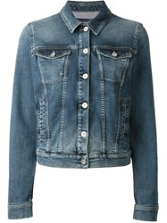 Armani Jeans Fitted Cropped Denim Jacket Blue