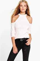 Boohoo Open Shoulder Fine Knit Jumper Nude